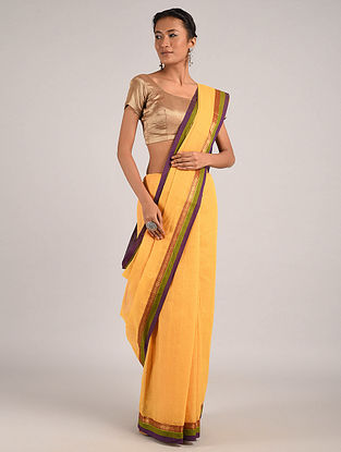 Yellow Handwoven Narayanpet Cotton Saree