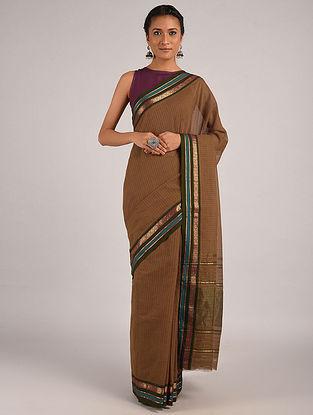 Brown Handwoven Narayanpet Cotton Saree
