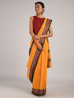 Orange Handwoven Narayanpet Cotton Saree