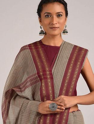 Grey Maroon Handwoven Narayanpet Cotton Saree