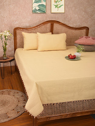 Beige Handblock Printed Cotton Quilted Bedcover with Pillow Covers (Set of 3)