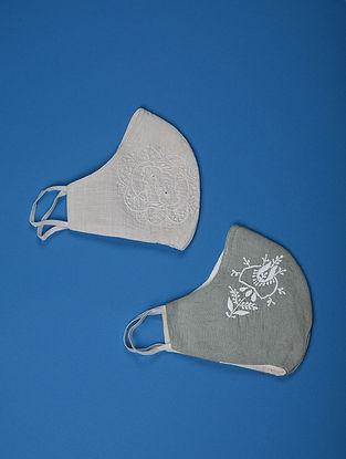 White-Grey Triple Layered ChikanKari Cotton Masks ( set of 2)