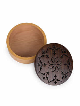 Ochre and Yellow Handcrafted Sheesham Wood and Steam Beech Wood Round Box (Dia - 5in, H - 2in)