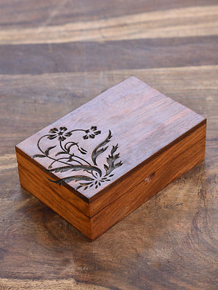Teak Handcrafted Sheesham Wood Rectangle box (L - 6in, W - 4in, H - 2 in)