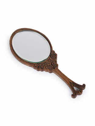 Brown Handcrafted Wood and Glass Hand Oval Mirror (L - 10in, W - 4.25in, H - 0.5 in)