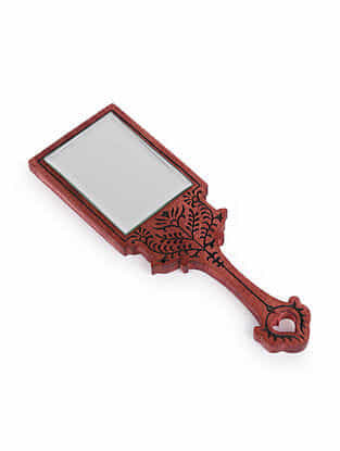 Red Handcrafted Wood and Glass Hand Mirror (L - 10in, W - 3.25in, H - 0.5 in)