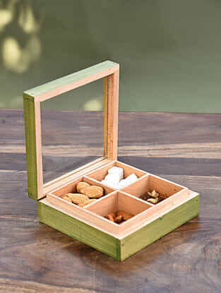Green Handcrafted Steam Beech Wood and Glass Box (L - 6in, W - 6in, H - 2 in)