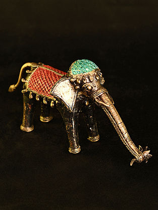 Elephant Handcrafted Antique Gold Dhokra Tabletop Accent (L - 9in, W - 3.5in, H - 5in)