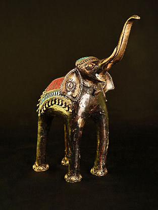 Elephant Handcrafted Antique Gold Dhokra Tabletop Accent (L - 12in, W - 6.2in, H - 12in)