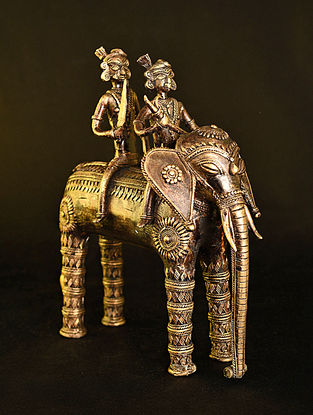 Elephant Handcrafted Antique Gold Dhokra Tabletop Accent (L - 10in, W - 5.5in, H - 10.6in)