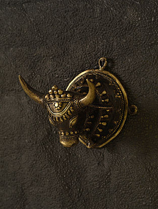 Bull Handcrafted Antique Gold Dhokra Wall Accent (L - 4.2in, W - 4.2in, H - 4in)