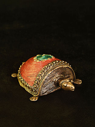 Tortoise Handcrafted Antique Gold Dhokra Tabletop Accent (L - 6in, W - 4in, H - 1.6in)