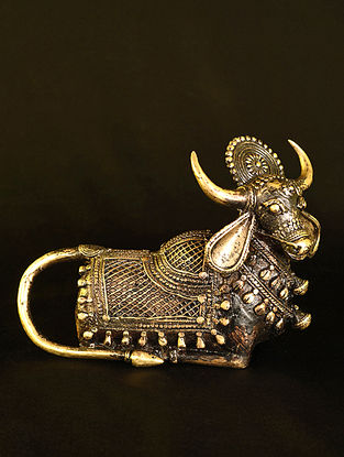 Nandi Handcrafted Antique Gold Dhokra Tabletop Accent (L - 9in, W - 4.5in, H - 7in)