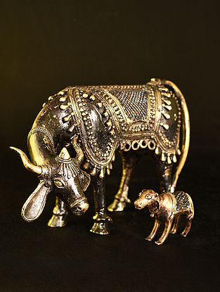 Nandi with Calf Handcrafted Antique Gold Dhokra Tabletop Accents (Set of 2)