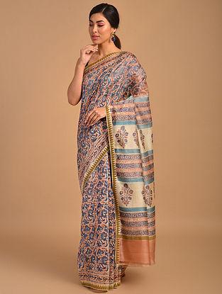 Beige-Blue Block Printed Chanderi Saree