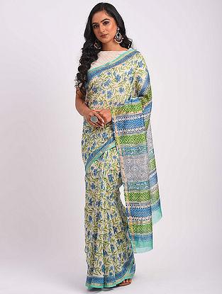 Green-Blue Block Printed Chanderi Saree