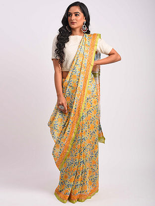Multicolored Block Printed Chanderi Saree