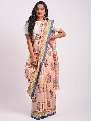 Pink-Blue Block Printed Chanderi Saree