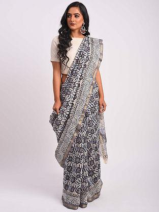Grey Block Printed Chanderi Saree