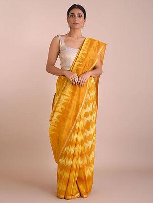 Yellow Shibori Dyed Chanderi Saree