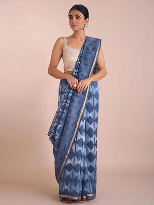 Blue Shibori Dyed Chanderi Saree