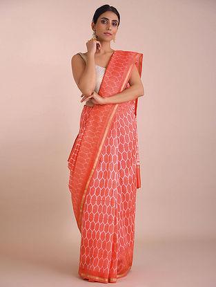 Orange Shibori Dyed Chanderi Saree