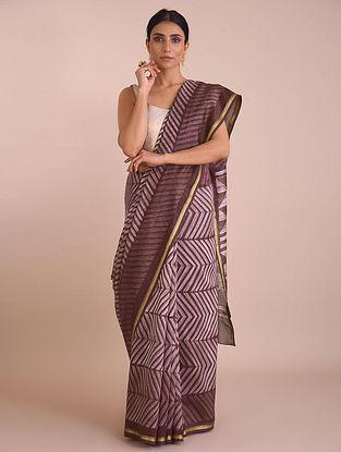 Brown Shibori Dyed Chanderi Saree