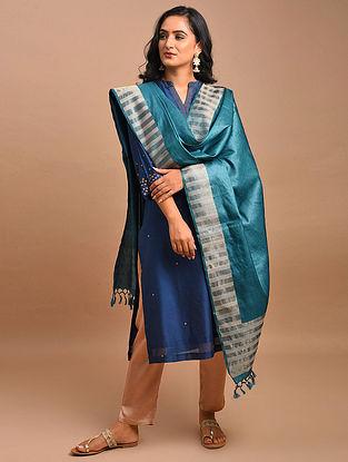 Blue Handwoven Tussar Silk Dupatta