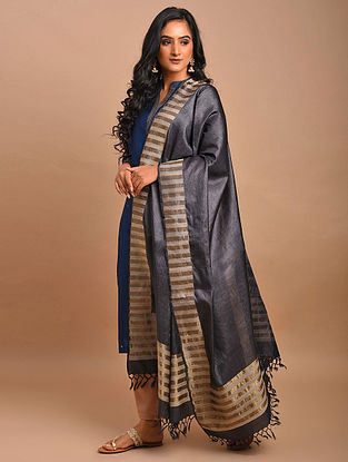 Grey-Brown Handwoven Tussar Silk Dupatta