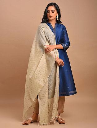 Beige Handwoven Silk Cotton Dupatta