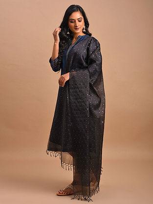 Black Handwoven Silk Cotton Dupatta