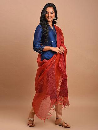 Red Handwoven Silk Cotton Dupatta
