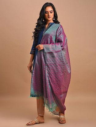 Pink-Grey Handwoven Silk Cotton Dupatta