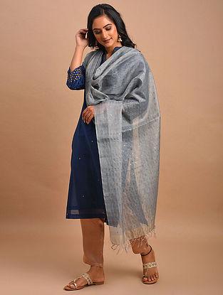 Grey Handwoven Silk Cotton Dupatta