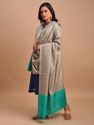 Blue-Brown Handwoven Tussar Muga Silk