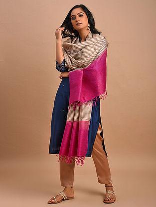 Pink-Brown Handwoven Tussar Muga Silk