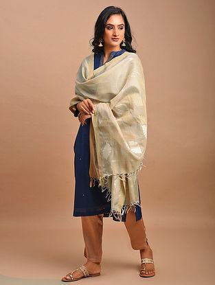 Beige-Ivory Handwoven Silk Cotton Dupatta