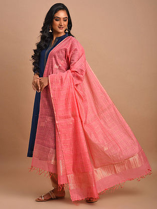 Pink Handwoven Khadi Silk Dupatta