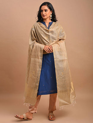 Beige Handwoven Khadi Silk Dupatta