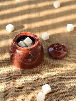 Rust Handmade Ceramic Sugar Pot (Dia - 3.6in, H - 3in)