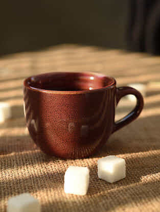 Rust Handmade Ceramic Tea Cup (L - 4.2in, W - 3.2in, H - 2.5in)