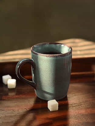 Blue Handmade Ceramic Coffee Mug (L - 4.5in, W - 5.2in, H - 4.2in)