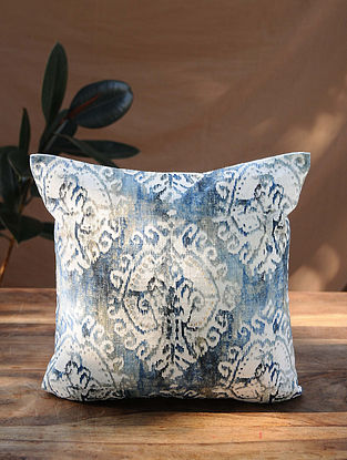 Blue Gold Handcrafted Ikat Cotton Cushion Cover (16in x 16in)
