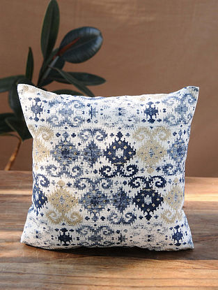 White-Multicolor Handcrafted Ikat Cotton Cushion Cover (16in x 16in)