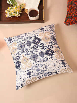 White-Multicolor Handcrafted Cotton Cushion Cover (16in x 16in)