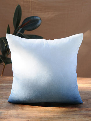 Blue White Handcrafted Cotton Linen Cushion Cover (16in x 16in)