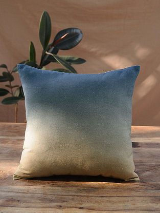 Blue Beige Cotton Linen Cushion Cover (16in x 16in)