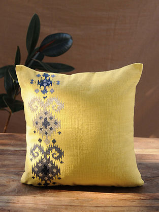 Mustard Yellow Handcrafted Cotton Cushion Cover (16in x 16in)