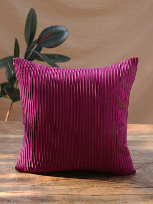Pink Handcrafted Cotton Linen Cushion Cover (16in x 16in)