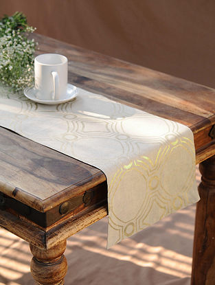 White Gold Handcrafted Cotton Linen Table Runner (12in x 72in)